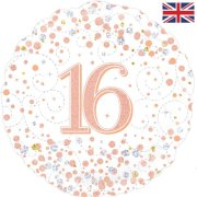 18 inch 16th Birthday White & Rose Gold Fizz Foil Balloon (1)