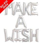 MAKE A WISH - 16 inch Silver Foil Letter Balloon Pack (1)