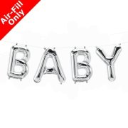BABY - 16 inch Silver Foil Letter Balloon Kit (1)