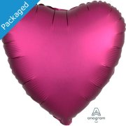 "18"" Pomegranate Satin Heart Foil Balloon (1)"