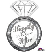 27 inch Happily Ever After Ring Supershape Foil Balloon (1)