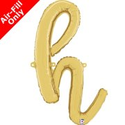 Air-Fill Gold Script Letter H Foil Balloon (1)
