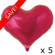 "Pack of 5 25"" Red Heart Jelly Foil Balloon (5)"
