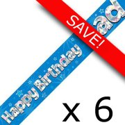 Pack of 6 Dad Birthday Blue Banner - 2.7m