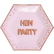 Glitz & Glamour Pink Hen Party Pink Hexagon Paper Plates (8)