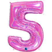 40 inch Holo Glitter Fuchsia Number 5 Foil Balloon (1)