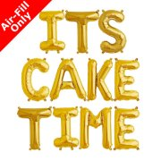 ITS CAKE TIME - 16 inch Gold Foil Letter Balloon Pack (1)