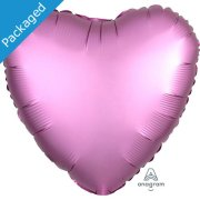 "18"" Flamingo Pink Satin Heart Foil Balloon (1)"