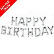 HAPPY BIRTHDAY - 16 inch Silver Foil Letter Balloon Kit (1)