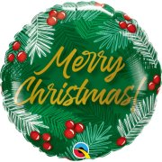 18 inch Christmas Greens & Berries Foil Balloon (1)