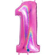 40 inch Holo Glitter Fuchsia Number 1 Foil Balloon (1)