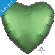 "18"" Emerald Satin Heart Foil Balloon (1)"