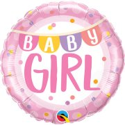 18 inch Baby Girl Banner & Dots Foil Balloon (1)