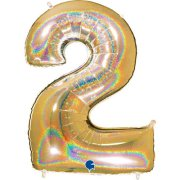 40 inch Holo Glitter Gold Number 2 Foil Balloon (1)