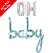 OH BABY - 16 inch Silver Foil Letters & Blue Script Pack (1)