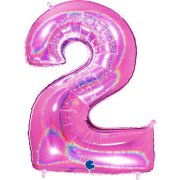 40 inch Holo Glitter Fuchsia Number 2 Foil Balloon (1)