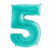 26 inch Tiffany Blue Number 5 Foil Balloon (1)