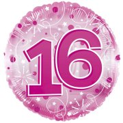 24 inch Pink Age 16 Clearview Balloon (1)