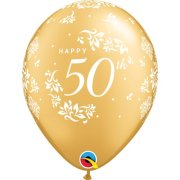 11 inch Gold 50th Anniversary Damask Latex Balloons (6)