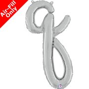 Air-Fill Silver Script Letter Q Foil Balloon (1)