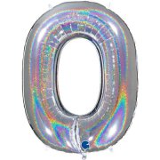 40 inch Holo Glitter Silver Number 0 Foil Balloon (1)