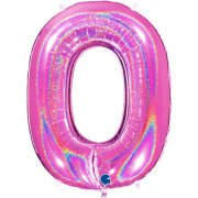 40 inch Holo Glitter Fuchsia Number 0 Foil Balloon (1)