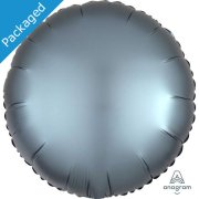 "18"" Steel Blue Satin Round Foil Balloon (1)"