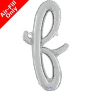 Air-Fill Silver Script Letter F Foil Balloon (1)
