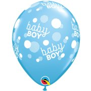 11 inch Baby Boy Dots-A-Round Pale Blue Latex Balloons (6)