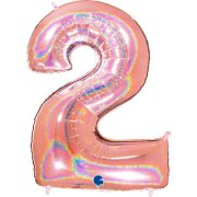 40 inch Holo Glitter Rose Gold Number 2 Foil Balloon (1)