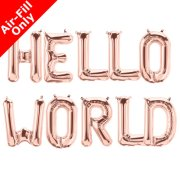 HELLO WORLD - 16 inch Rose Gold Foil Letter Balloon Pack (1)