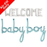 WELCOME BABY BOY - 16 inch Silver Letters & Blue Script Pack (1)
