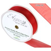 Red Woven Edge Ribbon - 25mm x 20m (1)