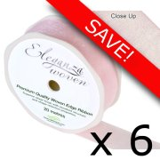 Pack of 6 Light Pink Woven Edge Ribbon - 25mm x 20m
