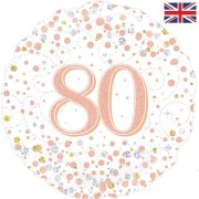 18 inch 80th Birthday White & Rose Gold Fizz Foil Balloon (1)