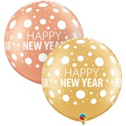 30 inch Happy New Year Dots-A-Round Latex Balloons (2)