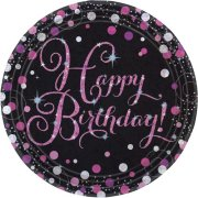 Black & Pink Sparkling Happy Birthday Paper Plates (8)