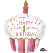 36 inch 1st Birthday Cupcake Girl Foil Balloon (1)
