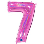 40 inch Holo Glitter Fuchsia Number 7 Foil Balloon (1)