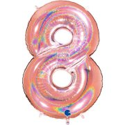 40 inch Holo Glitter Rose Gold Number 8 Foil Balloon (1)