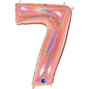 40 inch Holo Glitter Rose Gold Number 7 Foil Balloon (1)