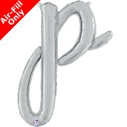 Air-Fill Silver Script Letter P Foil Balloon (1)