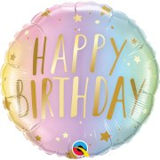 18 inch Birthday Pastel Ombre & Stars Foil Balloon (1)