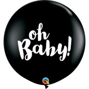 3ft Oh Baby! Black Latex Balloons (2)