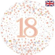 18 inch 18th Birthday White & Rose Gold Fizz Foil Balloon (1)