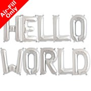 HELLO WORLD - 16 inch Silver Foil Letter Balloon Pack (1)