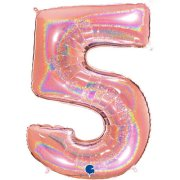 40 inch Holo Glitter Rose Gold Number 5 Foil Balloon (1)