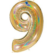 40 inch Holo Glitter Gold Number 9 Foil Balloon (1)