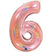 40 inch Holo Glitter Rose Gold Number 6 Foil Balloon (1)