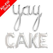 YAY CAKE - 16 inch Silver Foil Letters & Script Pack (1)